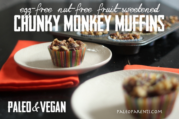 Gluten-Free Nut-Free Vegan Paleo Chunky-Monkey-Muffins-Chocolate-Version-from-Paleo-Parents