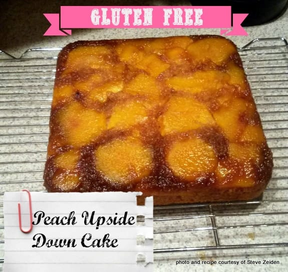My buddy Steve shares his gluten-free Peach Upside Down Cake recipe. He converted a magazine recipe to this beautiful and delicious gluten-free version! [from GlutenFreeEasily.com] (photo)