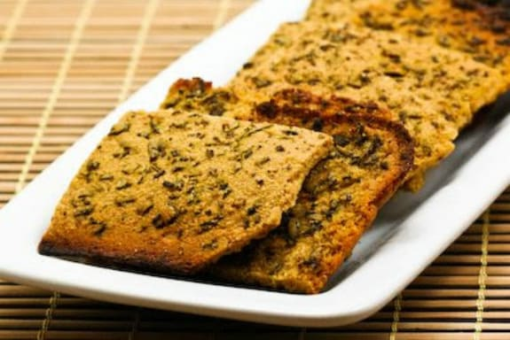 Gluten-Free Farinata with Rosemary and Pepper (Italian Chickpea Flatbread) from Kalyn's Kitchen
