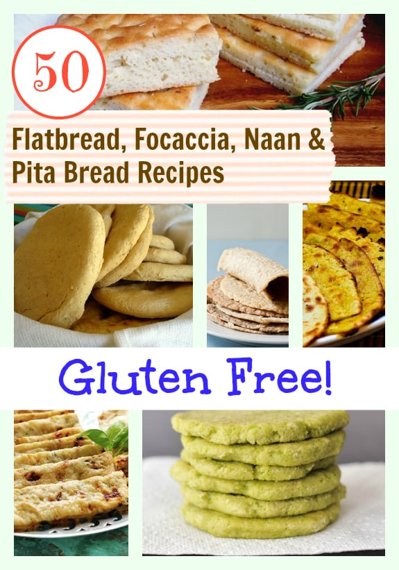 Gluten-Free Flatbread, Focaccia, Naan & Pita Bread Recipes Collage