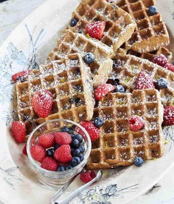 Gluten-Free Lemon Blueberry Waffles. One of many fabulous Gluten-Free Mother's Day Brunch Recipes!