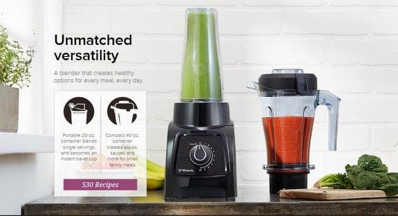 Vitamix S30 Black Personal Blender Container Comparison