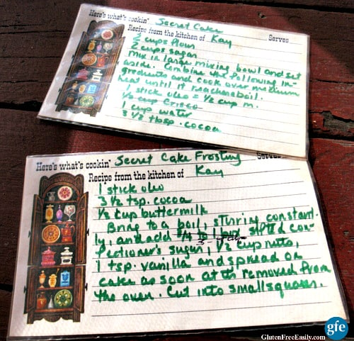 Gluten-Full Secret Cake Recipe Cards from Gluten Free Easily