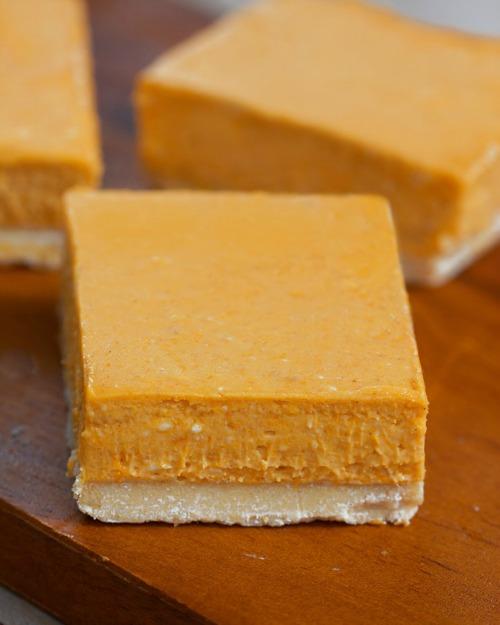 Pumpkin Cheesecake Bars Gluten-Free Vegan