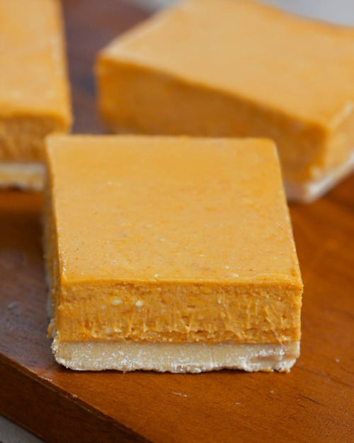 Pumpkin Cheesecake Bars Gluten-Free Vegan