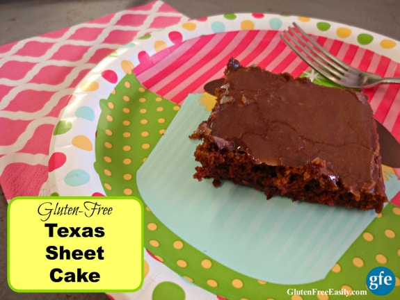 No matter what you call this cake--Gluten-Free Texas Sheet Cake, Secret Cake, or Chocolate Sheet Cake--you are bound to love this indulgent cake! It's fantastic for special celebrations and we love it with a dollop of ice cream on top for birthday parties.