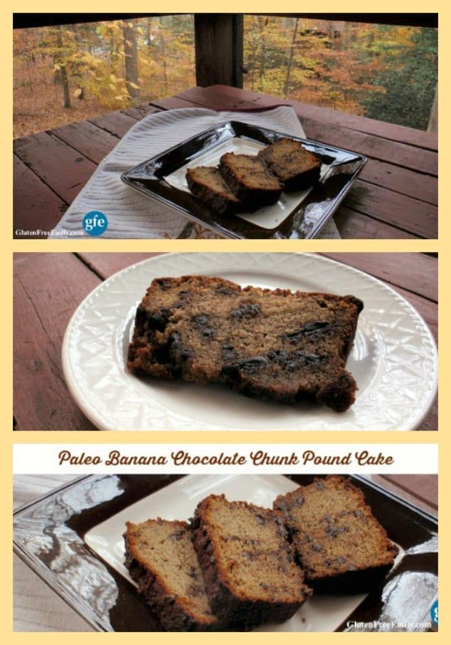 This Paleo Banana Chocolate Chunk Pound Cake is another terrific way to use your ripe bananas. It's rich, satisfying, and filling. A thin slice will tide you over for a long time! [featured on GlutenFreeEasily.com] (photo)