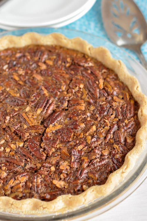 Gluten-Free Pecan Pie (Corn Syrup-Free, Refined Sugar-Free) Recipe from Allergy Free Alaska [featured on GlutenFreeEasily.com]