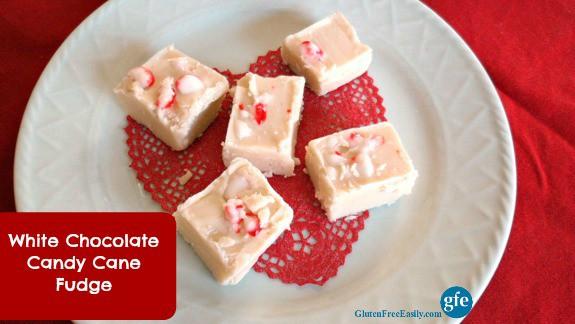 White Chocolate Candy Cane Fudge Gluten Free Easily