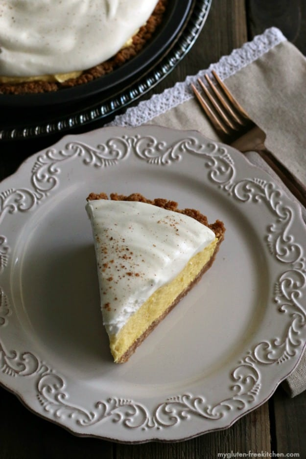 Gluten-Free Egg Nog Pie. [featured on GlutenFreeEasily.com]