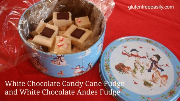 More gluten-free holiday recipes! White Chocolate Candy Cane Fudge and White Chocolate Andes Mints Fudge. [from GlutenFreeEasily.com]