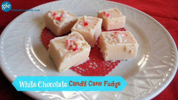 Gluten-Free White Chocolate Candy Cane Fudge from Gluten Free Easily