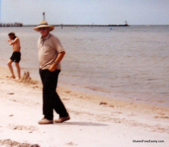 Dad at Cape Charles on Our Family Vacation (Mr. GFE Building Sand Castle n Background)