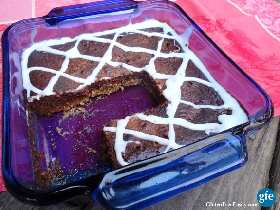 Disappearing Gluten-Free Salted Caramel Shortbread Brownies GFE Walkers Gluten-Free Shortbread