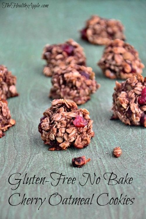 Perfect for Valentine's Day! Gluten-Free No-Bake Cherry Oatmeal Cookies