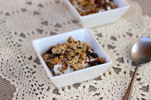 Gluten-Free Paleo Almond Honey Granola Oatmeal with a Fork