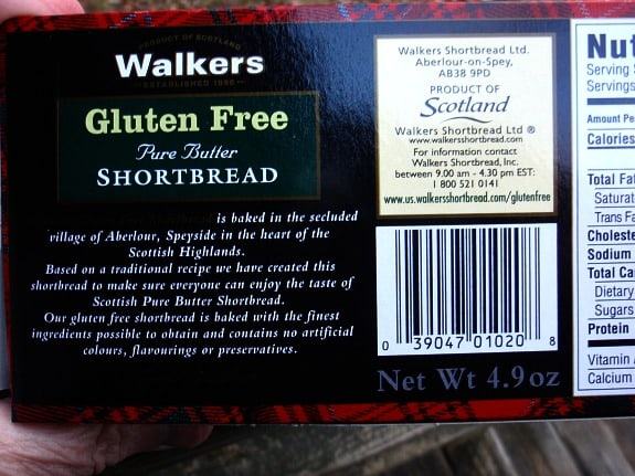Walkers Gluten-Free Shortbread Cookies Description Label