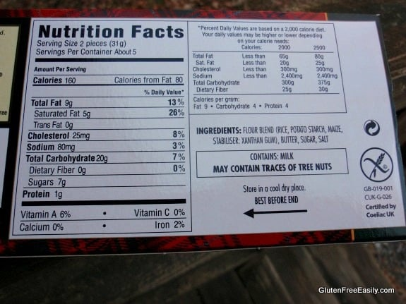 Walker Gluten-Free Shortbread Cookies Ingredients Label