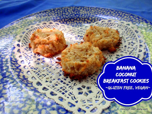 Banana Coconut Breakfast Cookies from GFE. One of many fabulous Gluten-Free Mother's Day Brunch Recipes! But easy and good enough that you'll want to make them any day for breakfast.