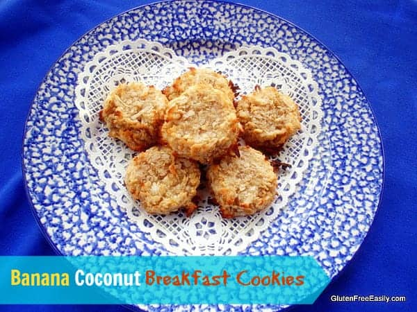 Gluten-Free Banana Coconut Breakfast Cookies. These cookies are crusty on the outside and soft and slightly chewy on the inside. In other words, perfect! [from GlutenFreeEasily.com] (photo)