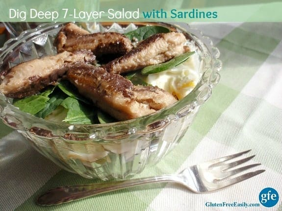 Gluten-Free Dig Deep 7-Layer Salad with Sardines. Protein packed, veggie packed. [from GlutenFreeEasily.com]