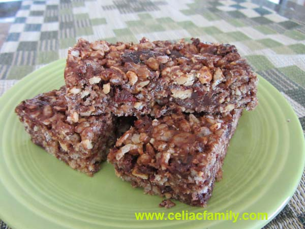 Gluten-Free Cashew Cherry Chocolate Snack Bars Celiac Family