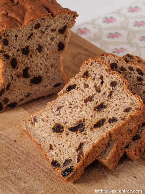 Gluten-Free Cinnamon Raisin Bread. One of 65 gluten-free loaf bread recipes featured on gfe. [GlutenFreeEasily.com]