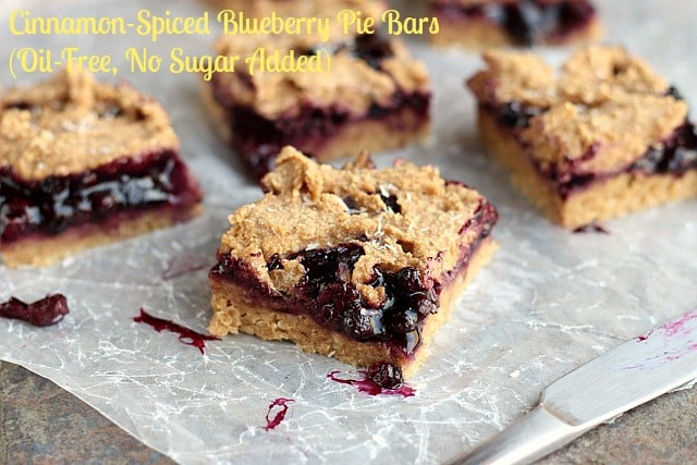 Cinnamon-Spiced Blueberry Pie Bars from Oatmeal with a Fork (Be sure to use safe, purity protocol oats for these delicious gluten-free, vegan treats!)