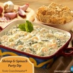 Gluten-Free Shrimp and Spinach Party Dip with Crunchmaster Crackers. [from GlutenFreeEasily.com] (photo)