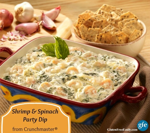 Gluten-Free Shrimp and Spinach Party Dip with Crunchmaster Crackers. (Any gf crackers will work.) One of 17 gluten-free holiday appetizers that will make your New Year celebration! [from GlutenFreeEasily.com] (photo)