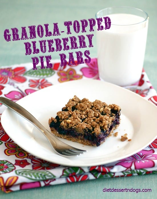 "Granola-Topped Blueberry Pie Bars. Recipe creator Hallie says: ""I took one bite of these bars and my taste buds shouted, 'Hello, Blueberry Pie!' The moist crust and crunchy topping of these bars paired with the juicy blueberry filling is just sublime. Don't let the rather long list of ingredients scare you. They're very easy to make."""