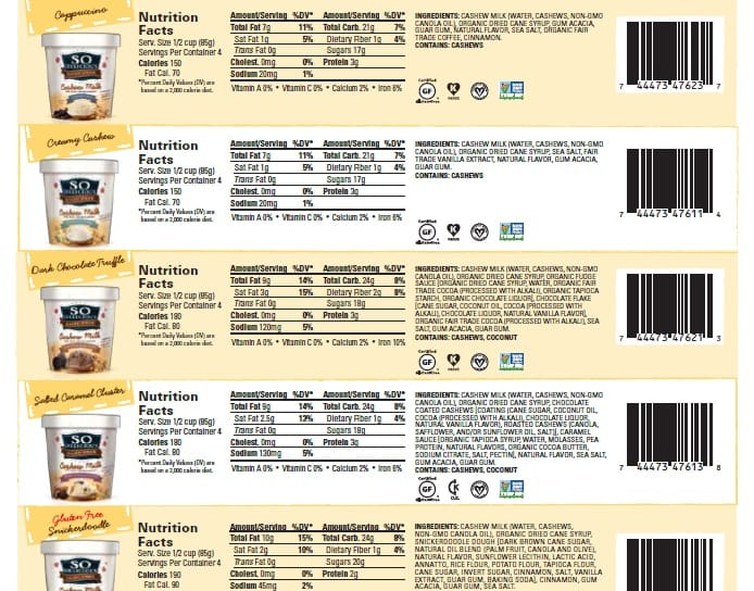 So Delicious Cashew Milk Ice Cream Flavors Ingredients Snapshot