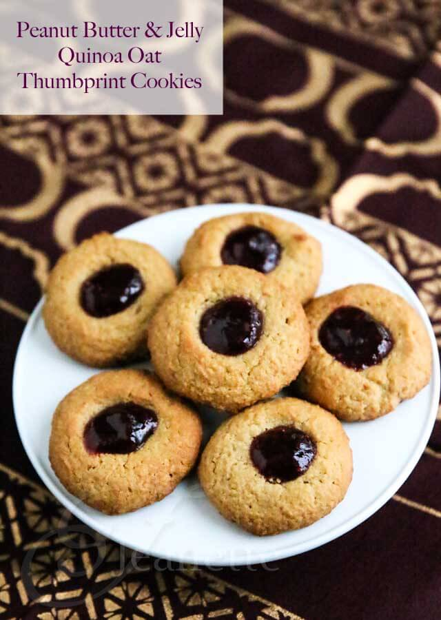 Gluten-Free Peanut Butter and Jelly Thumbprint Quinoa Oat Cookies