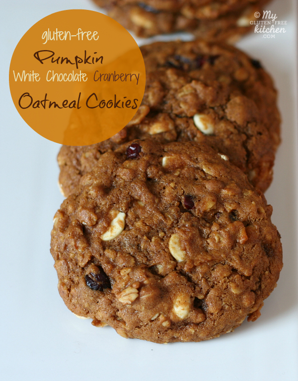 Gluten-Free Pumpkin White Chocolate Cranberry Oatmeal Cookies