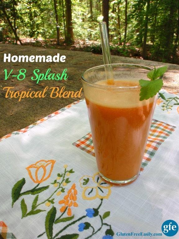 Homemade V-8 Splash Tropical Blend. One of many fabulous Gluten-Free Mother's Day Brunch Recipes! From Gluten Free Easily.