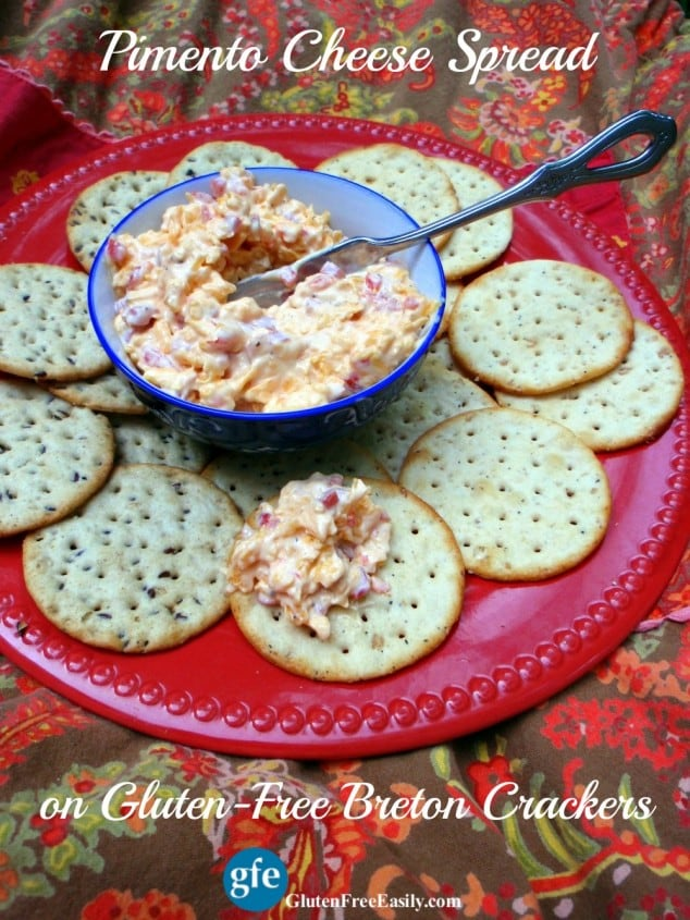 Pimento Cheese Spread on Gluten-Free Breton Crackers. (Any gf crackers can be used.) One of 17 gluten-free holiday appetizers that will make your New Year celebration! [from GlutenFreeEasily.com] (photo)