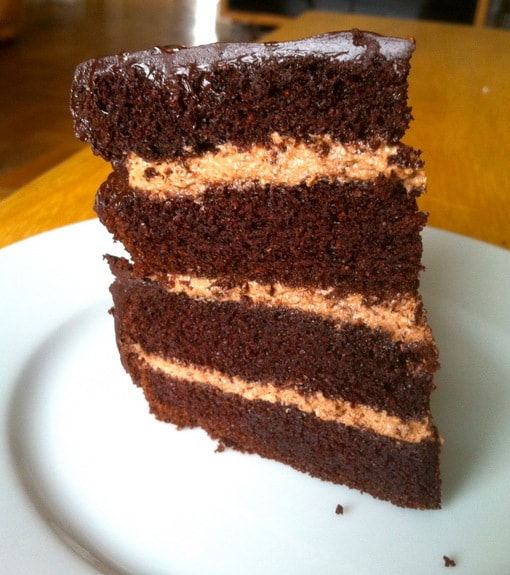 This Paleo Dark Chocolate Layer Cake is grain free, dairy free, and pretty amazing! It's even on the frugal side with less eggs. From Zenbelly.