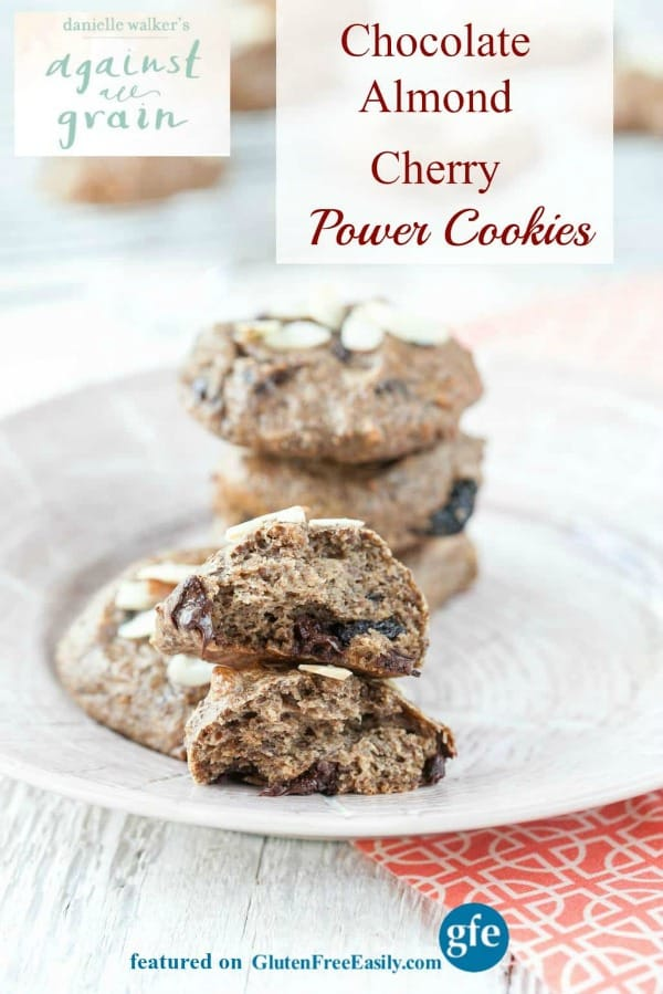 These gluten-free Chocolate Almond Cherry Power Cookies from Danielle Walker of Against All Grain are terrific treats! Gluten free, grain free, paleo, and vegan; they work for many special diets. [featured on GlutenFreeEasily.com]