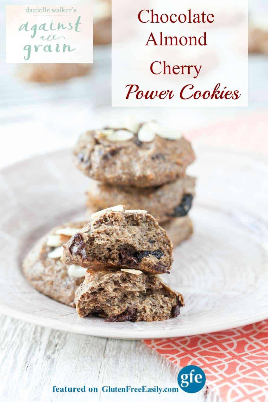 Grain-Free Chocolate Almond Cherry Power Cookie (Paleo Vegan) from Against All Grain [featured on GlutenFreeEasily.com]