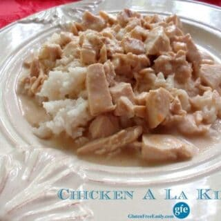 Chicken A La King is creamy and delicious comfort food all the way! Wonderful way to use leftover chicken and other leftover ingredients (like rice and peas) as well. Feel free to use leftover turkey instead of chicken during the holidays. [from GlutenFreeEasily.com] (photo)