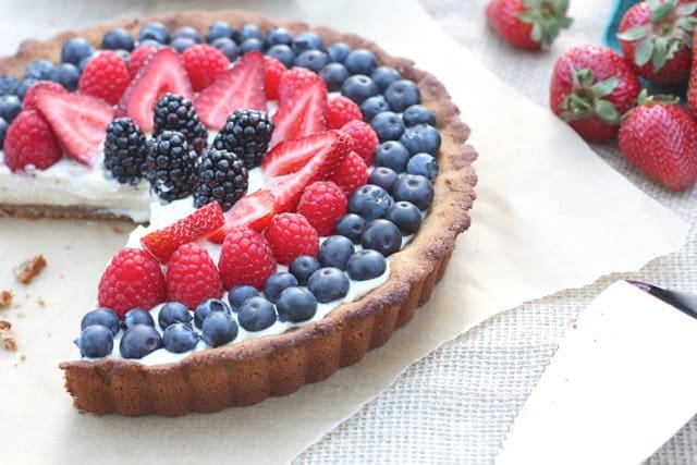 Gluten-Free Red White and Blue Berry Tart with Dairy-Free Vanilla Bean Custard from Against All Grain [featured on GlutenFreeEasily.com]
