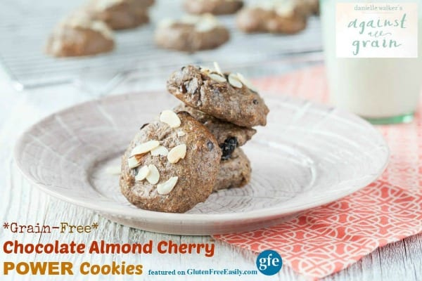 These gluten-free Chocolate Almond Cherry Power Cookies from Danielle Walker of Against All Grain are terrific treats! Gluten free, grain free, paleo, and vegan; they work for many special diets. [featured on GlutenFreeEasily.com