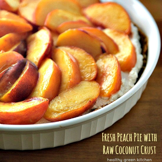 Fresh Peach Pie with Raw Coconut Crust