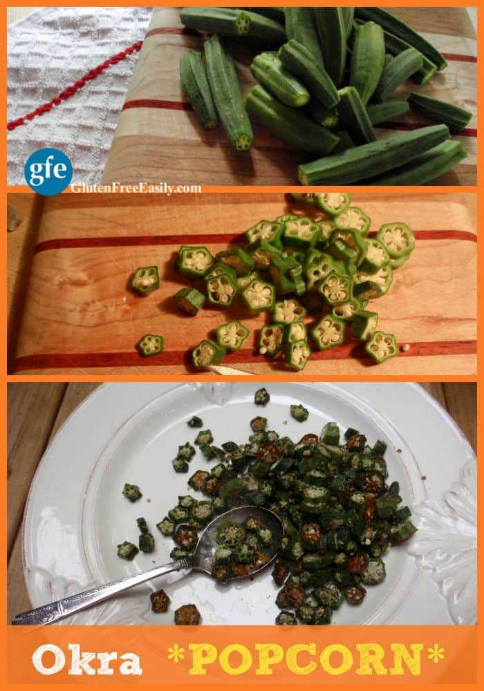 Okra Popcorn. This is the way you need to cook okra. Every. Single. Time. Trust me on this. Even the okra haters will gobble this okra popcorn up! Naturally gluten free, paleo, and vegan. [from GlutenFreeEasily.com]