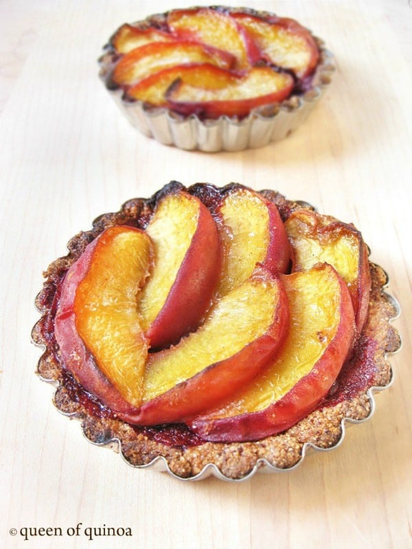 Gluten-Free Peach and Black Raspberry Tarts. One of 20 gluten-free peach pie recipes on gfe. [featured on GlutenFreeEasily.com]