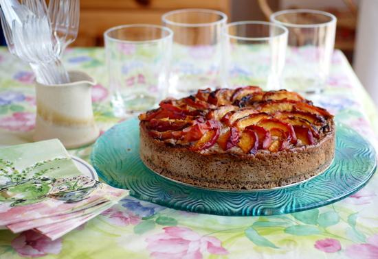 Rustic Glazed Peach and Mascarpone Tart with Oatcake Crust (Gluten Free)