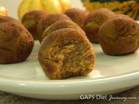 Love pumpkin? You're going to want to make these Pumpkin Poppers! Gluten free, grain free, and more free. [featured on GlutenFreeEasily.com] (photo)