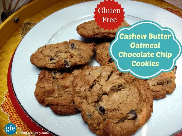Gluten-Free Cashew Butter Oatmeal Chocolate Chip Cookies Recipe. Chocolate chip cookies taken up a delicious and healthy notch with the inclusion of cashew butter and oatmeal. [from GlutenFreeEasily.com] (photo)