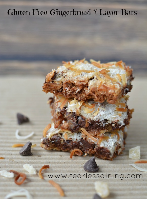 Gluten-Free 7-Layer Bars (Magic Cookie Bars). Gingerbread 7-Layer Bars shown. [featured on GlutenFreeEasily.com] (photo)
