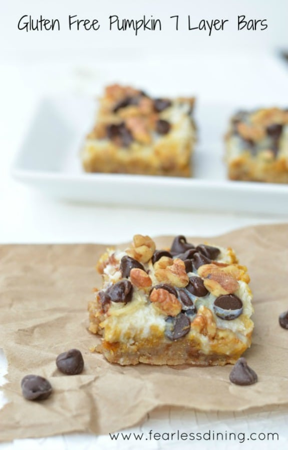 Gluten-Free Pumpkin 7-Layer Bars (Magic Cookie Bars). plus more 7-Layer Bar recipes. [featured on GlutenFreeEasily.com] (photo)